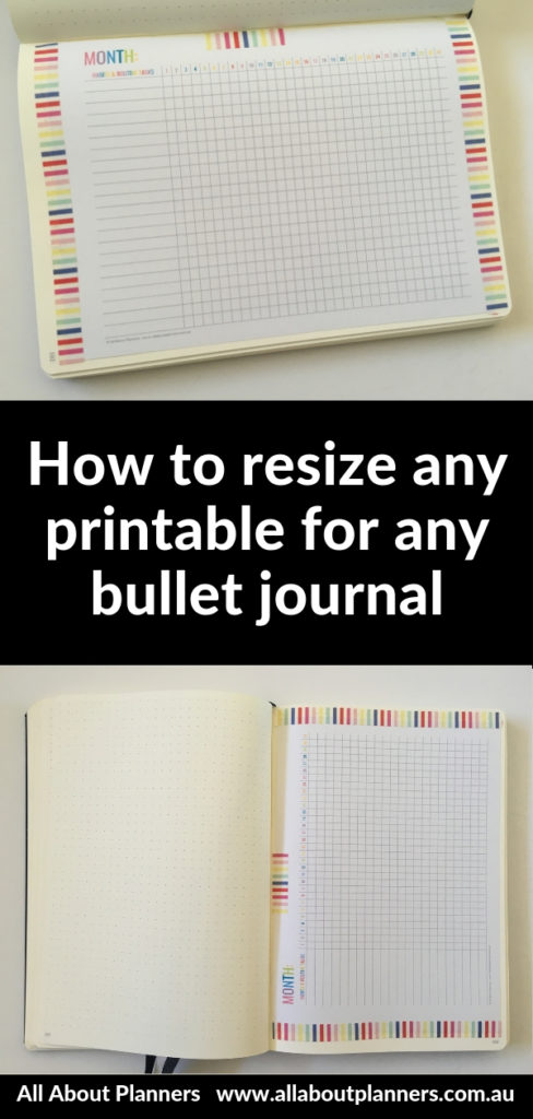 how to resize any printable for any size bullet journal bujo tips hacks diy inspiration a5 size washi tape inspo
