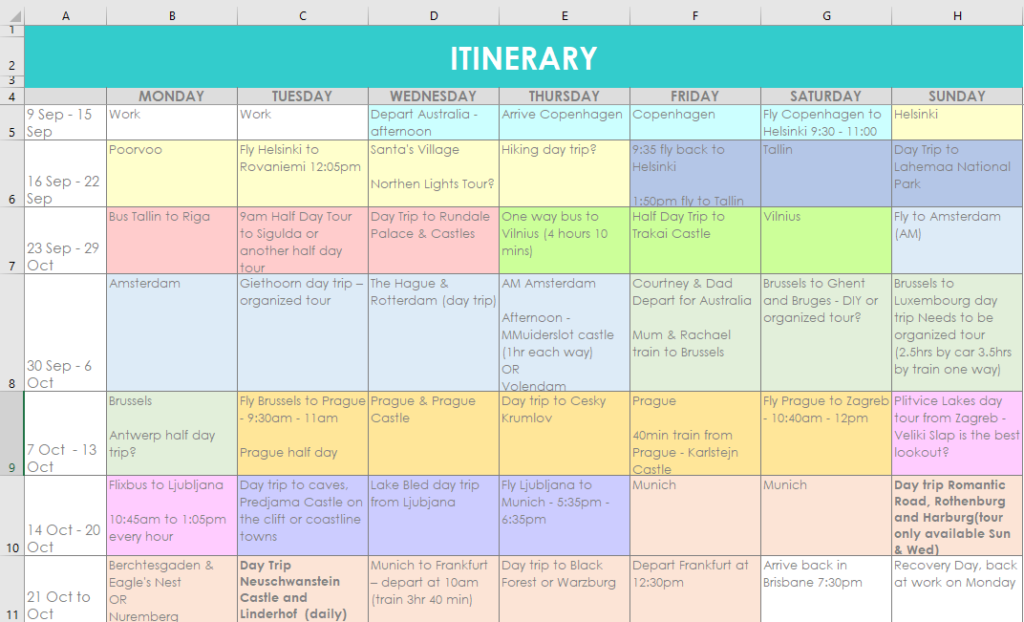 itinerary europe 2019 holiday color coded excel spreadsheet organizer planner