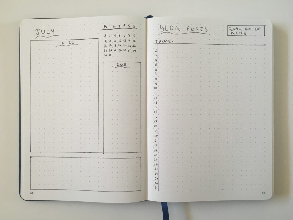 monthly blog planning bullet journal spread layout ideas tips quick simple easy inspiration overview