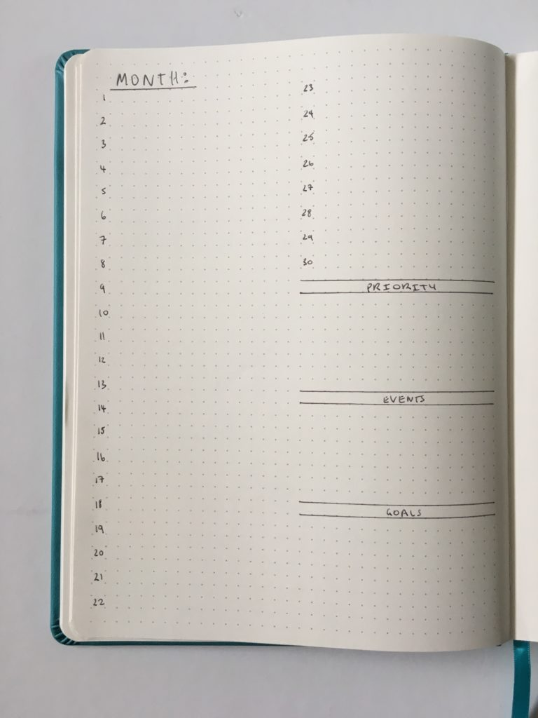 monthly bullet journal layout inspiration ideas tip simple minimalist quick siwengde notebook