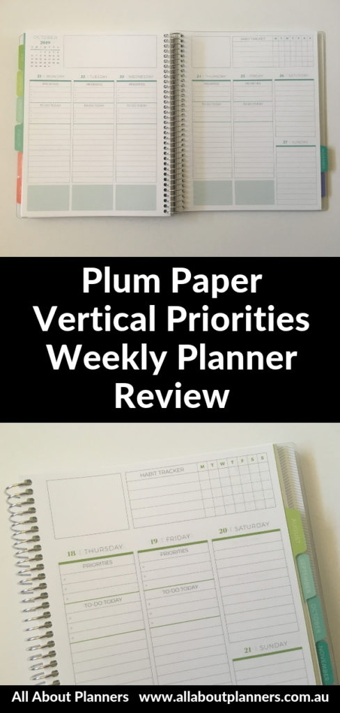 plum paper vertical priorities weekly layout monday start coloful habit tracker student college video walkthrough pros and cons