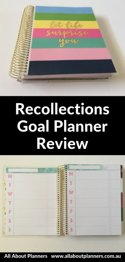 recollections goal planner review pros and cons video pen testing horizontal 1 page layout