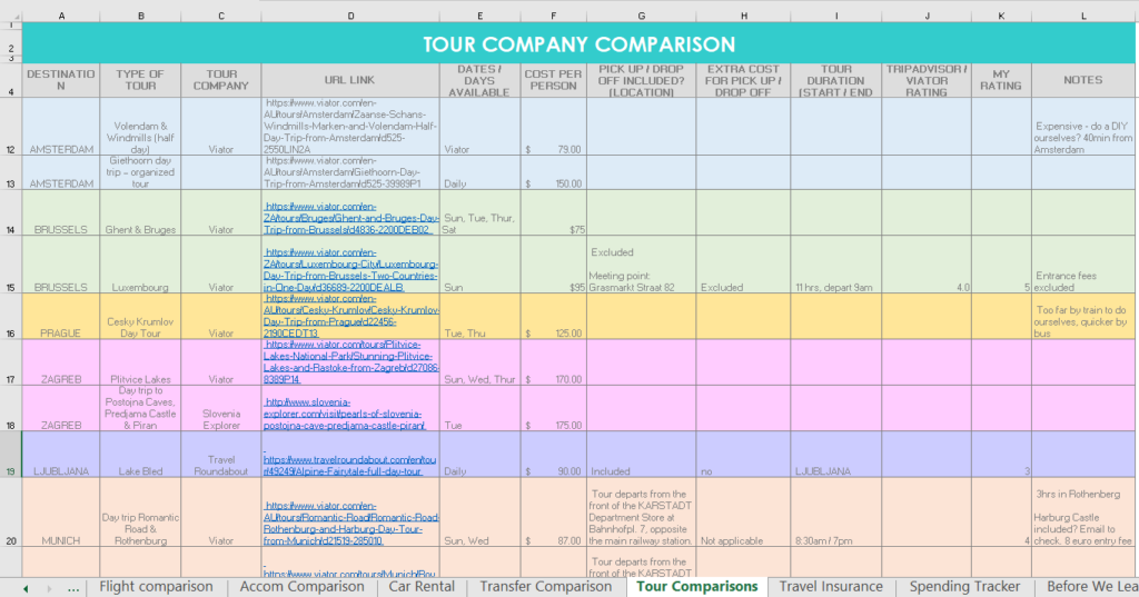 tour company comparison