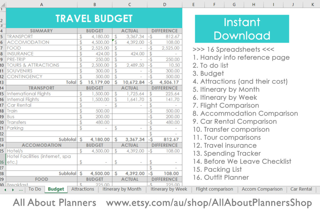 travel budget excel planner organizer trip vacation holiday template itinerary weekly monthly