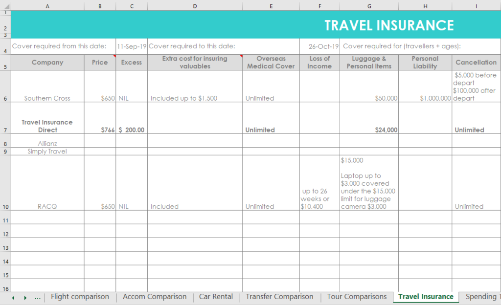 travel insurance comparison tool excel spreadsheets