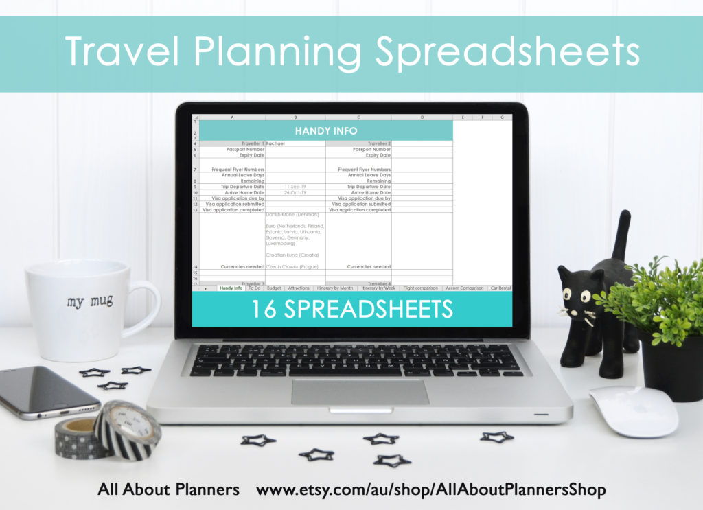 travel planning spreadsheet organizer research family holiday stress free template diy