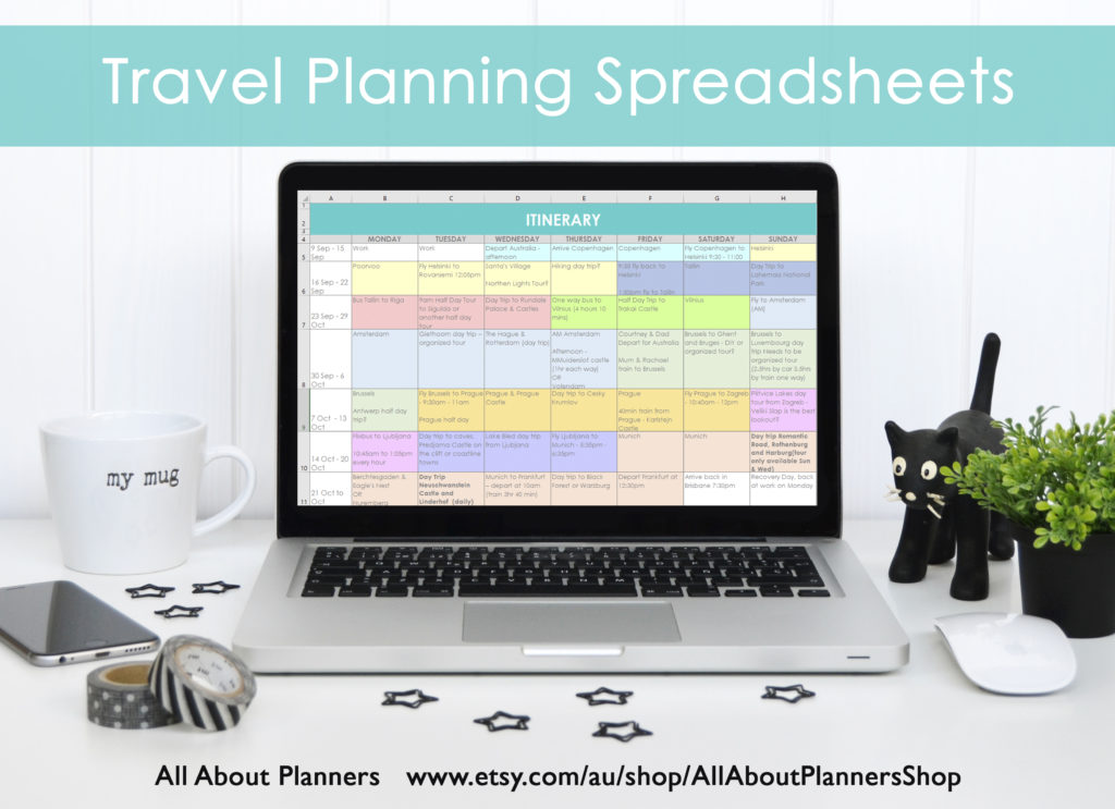 travel planning spreadsheets itinerary excel organizer color coded template