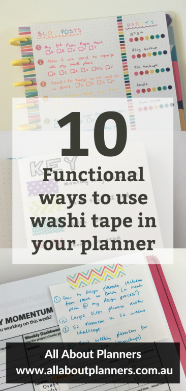 10 functional ways to use washi tape in your planner tips ideas inspiration bullet journaling diy sticking tape days of the week washi key bujo habit tracking