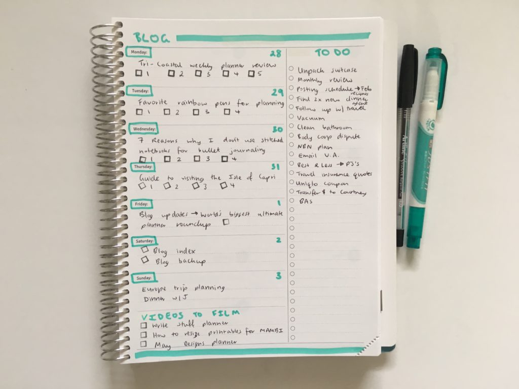 Agendio weekly planner custom highlighters black pen quick easy simple personalised review pros and cons horizontal 1 page