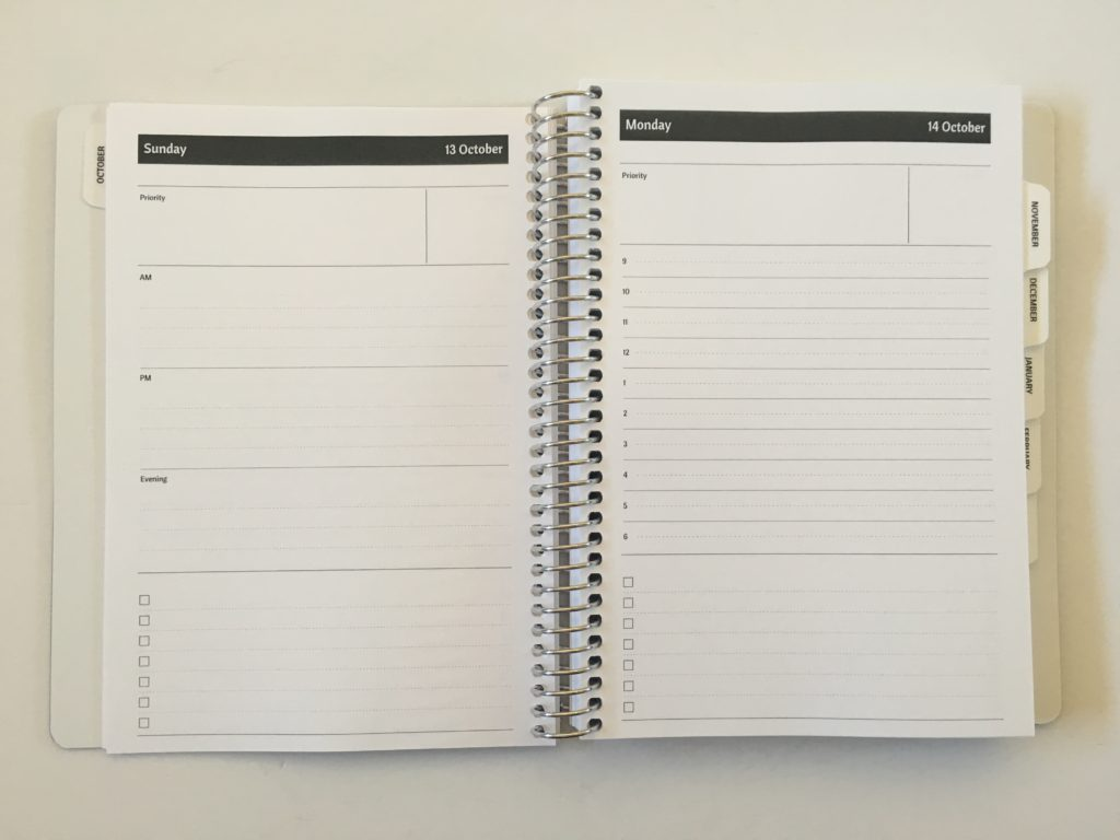 agendio daily planner review pros and cons custom personalised schedule 9am to 6pm morning afternoon evening coil bound a5 page size