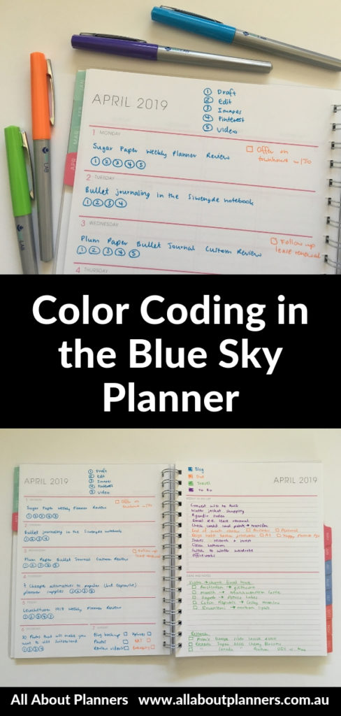blue sky planner color coding tips ideas simple horizontal layout blogging travel planning projects medium paper quality ghostin