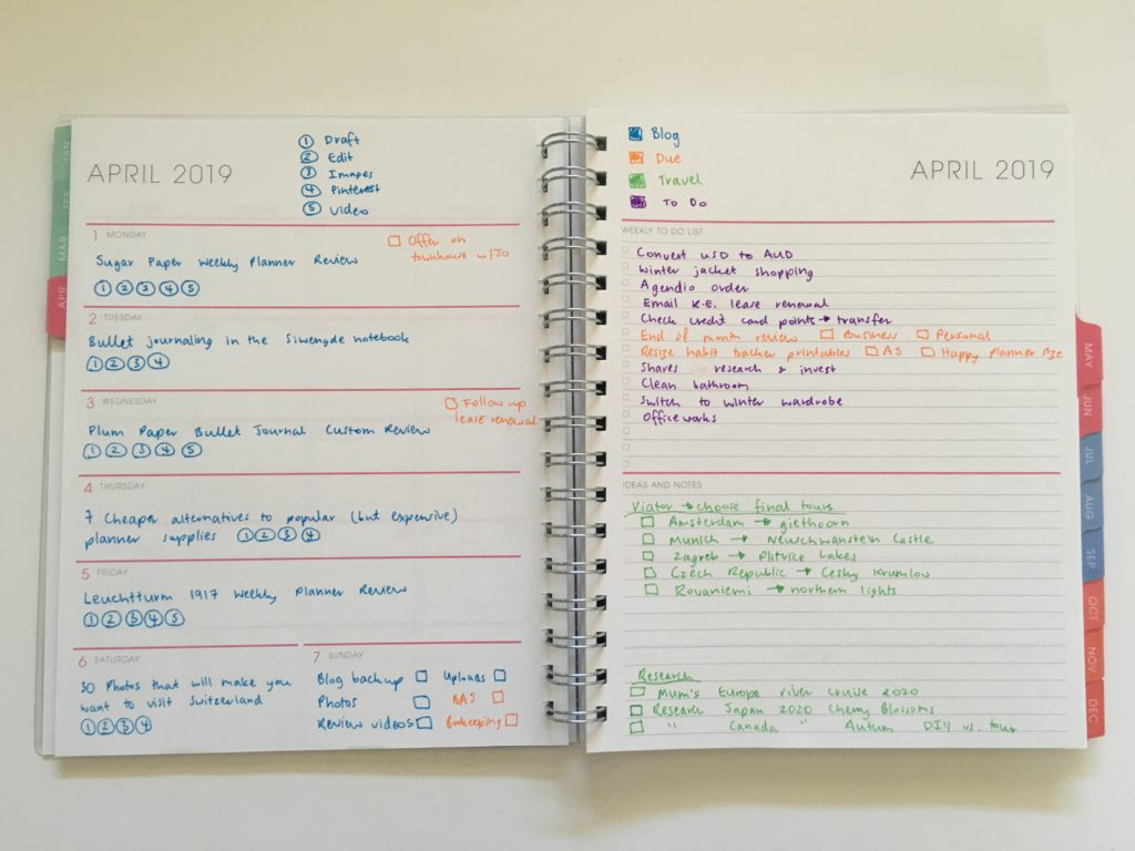 blue sky planners weekly personalised review color coding pros and cons pen testing