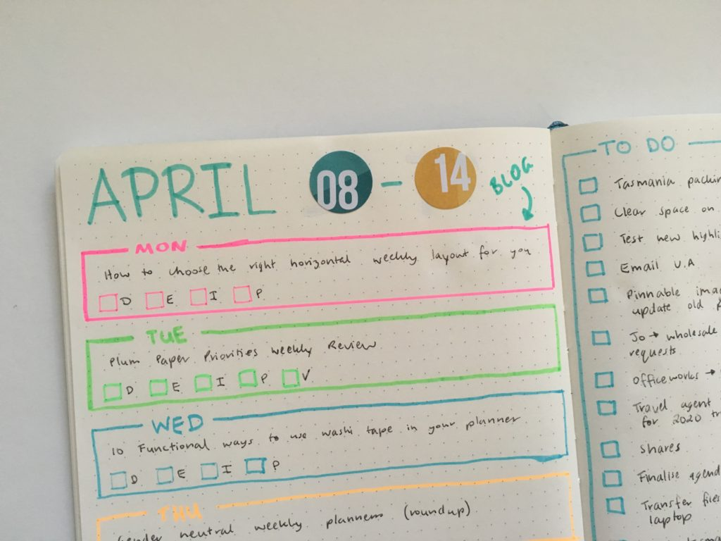bullet journal layout highlighters tips color coding simple spread ideas