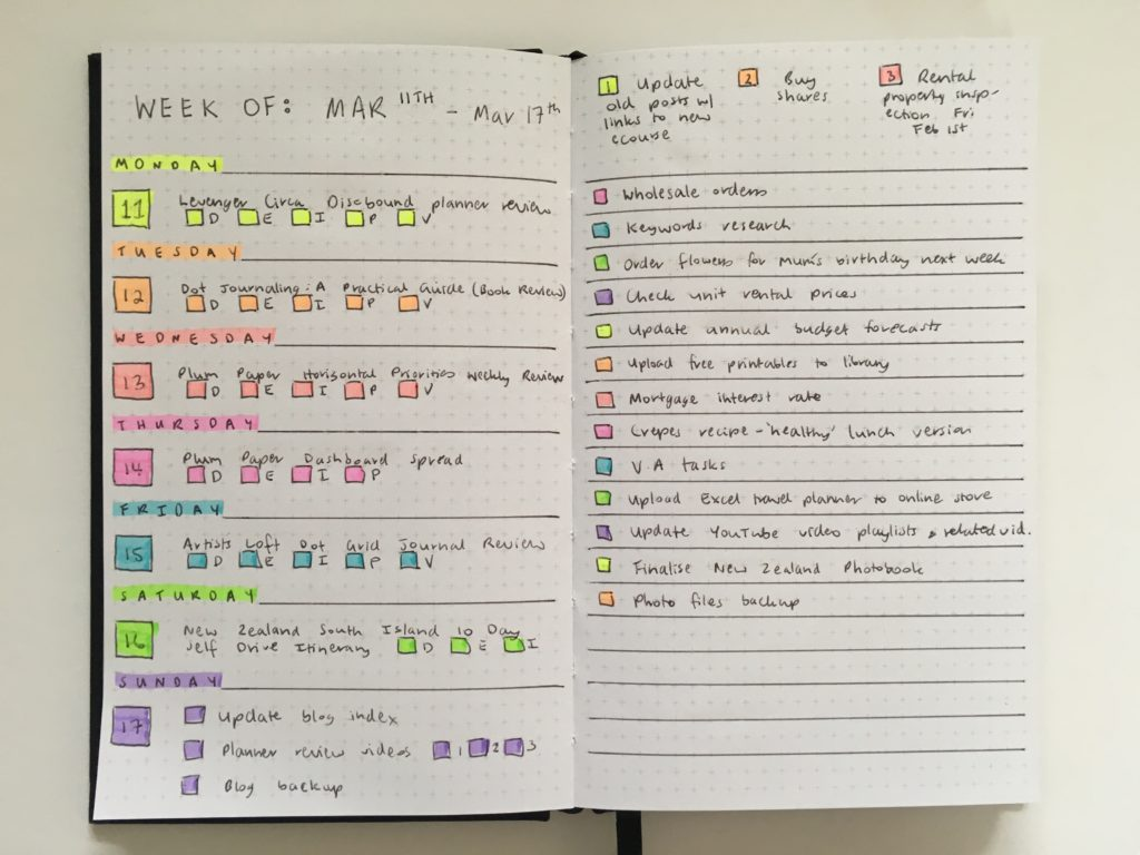 kikki k weekly planner spread bullet journaling rainbow horizontal spread