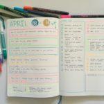 Rainbow highlighter weekly spread in the Leuchtturm Slim dot grid notebook