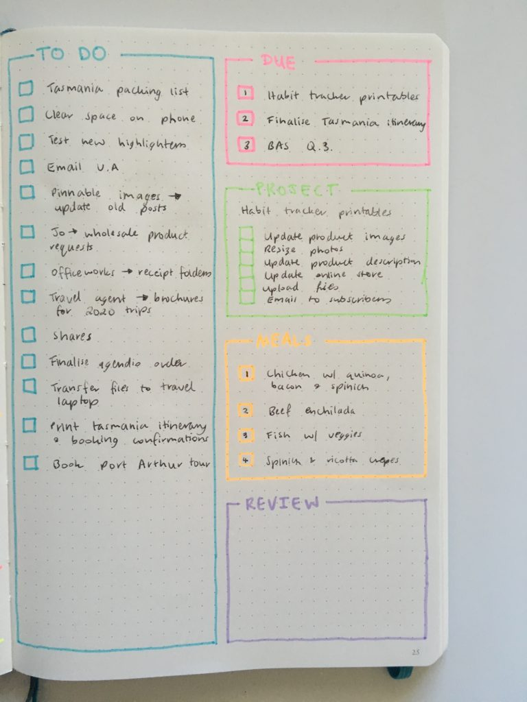 leuchtturm slim bullet journal planner review spread highlighters rainbow layout ideas inspiration simple quick easy color coded checklist to do