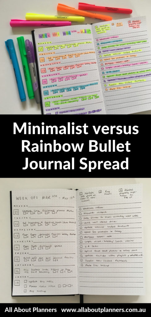 minimalist versus rainbow weekly spread highlighters simple planner decorating pros and cons layout ideas kikki k grid journal