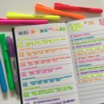 Minimalist versus Rainbow Bullet Journal Spread in the Kikki K Grid Journal