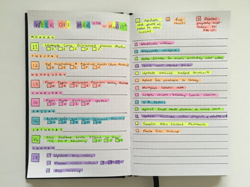 rainbow bullet journal highlighters kikki k notebook bujo horizontal simple faber castel review colorful quick easy simple checklist top 3 goals monday start checklist