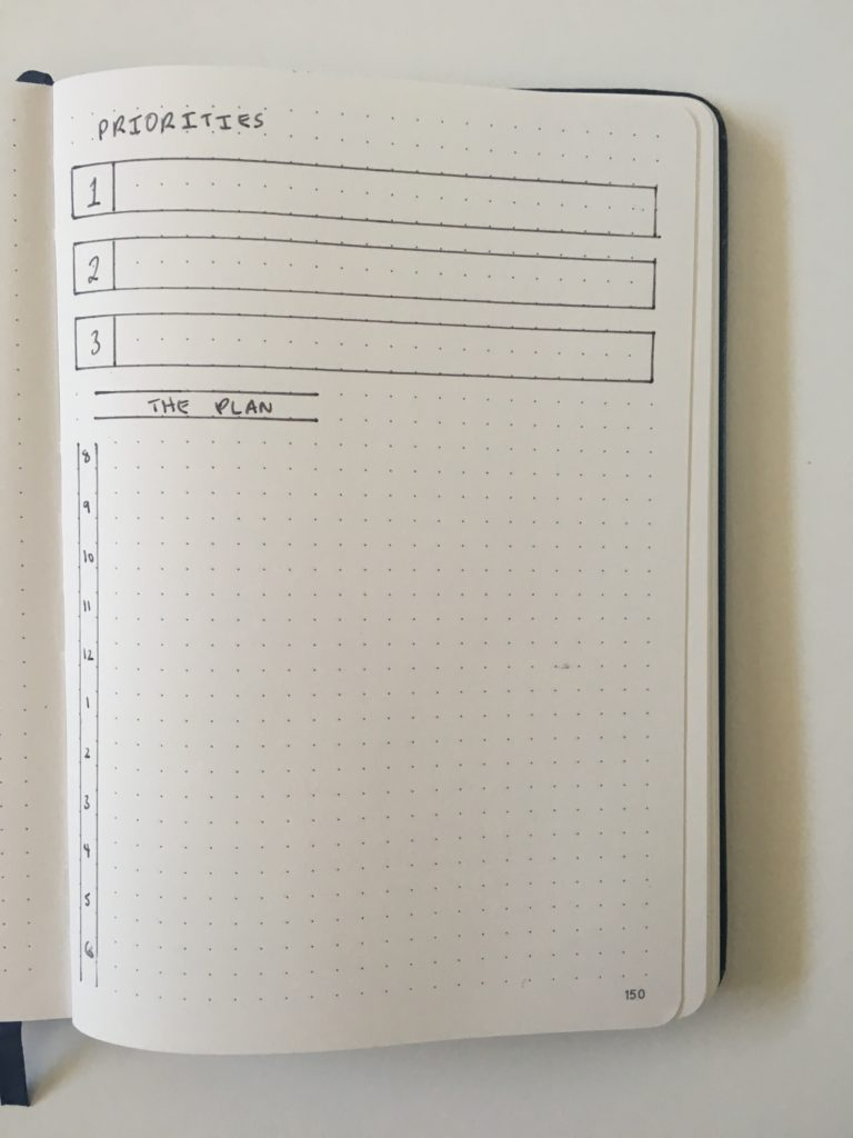 1 page bullet journal daily planning layout day to a page priorities hourly schedule