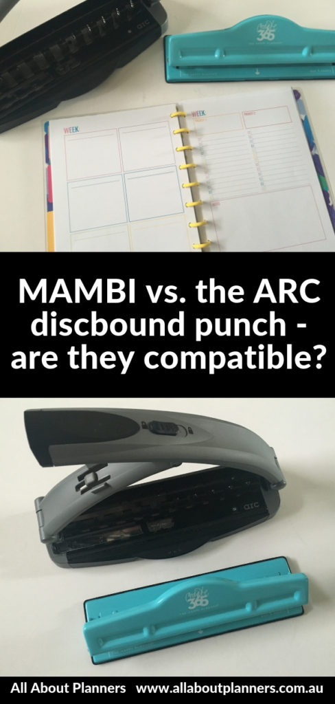 MAMBI happy planner punch versus the ARC pros and cons video review tips compatible spacing holes discbound