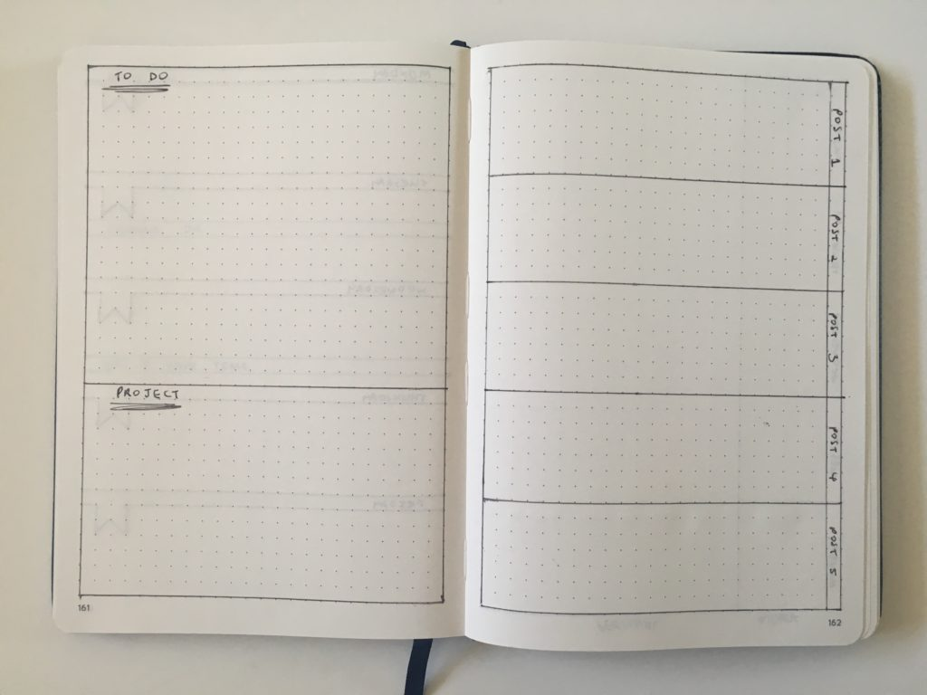 bullet journal blogging weekly spread layout ideas social media planning business instagram youtube