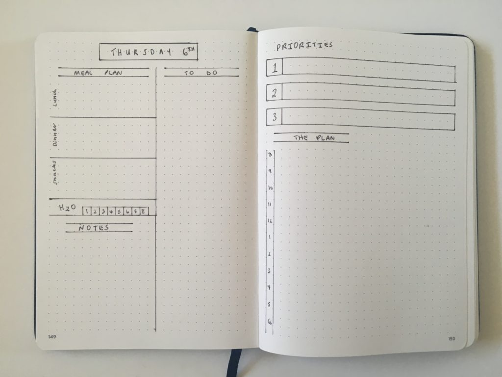bullet journal daily log layout bullet journal simple minimalist priorties hourly schedule plan bar bujo