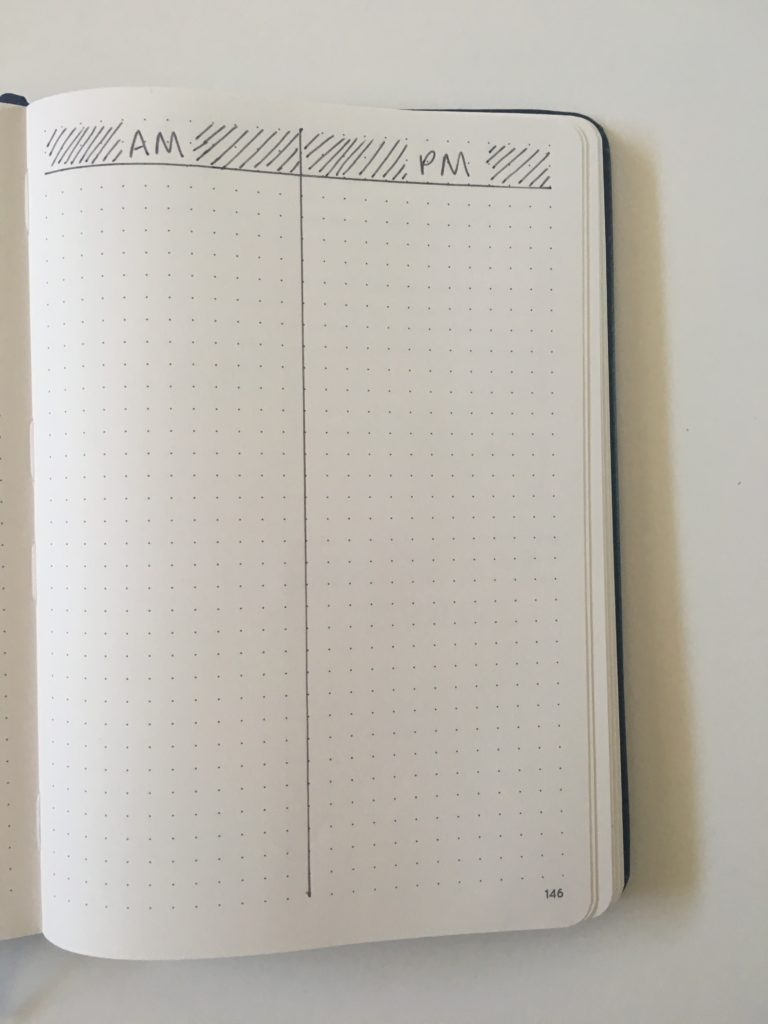 bullet journal daily spread am pm layout ideas simple daily log keep work and personal in the same planner morning afternoon