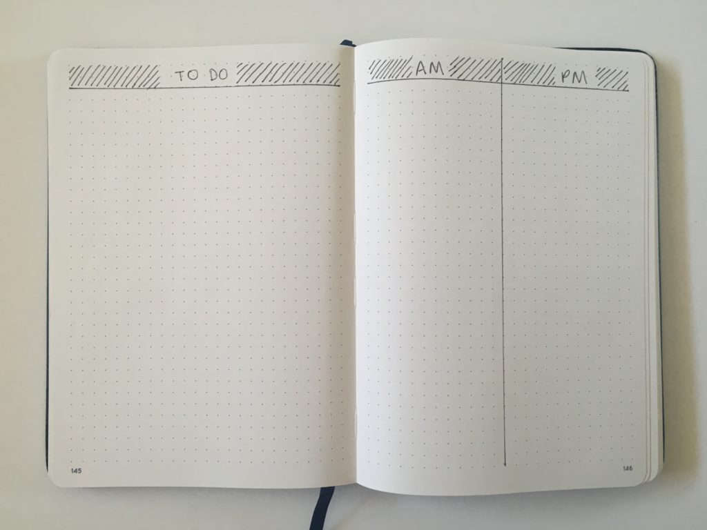 bullet journal simple daily layout 2 days per page minimalist quick easy create in less than 5 minutes