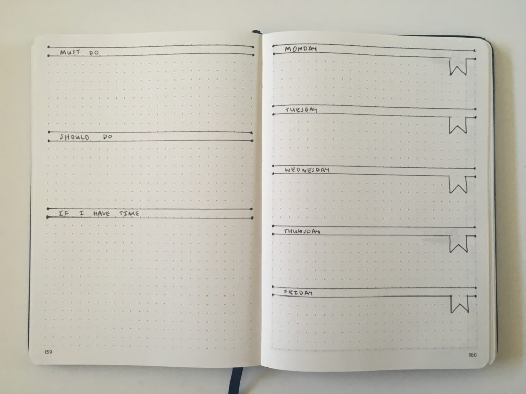 bullet journal weekly spread 5 day week quick simple easy minimalist list maker unique layout ideas