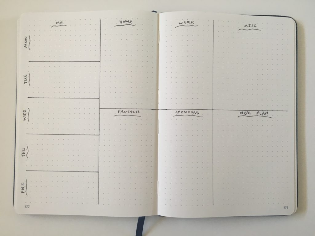 bullet journal weekly spread unique layout list maker appointments 5 day work week