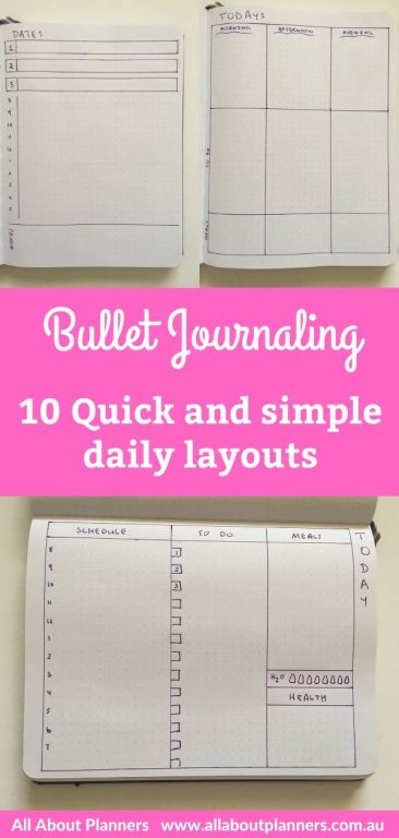bullet journaling quick and simple daily layouts day to a page inspiration bujo bullet journal tips all about planners