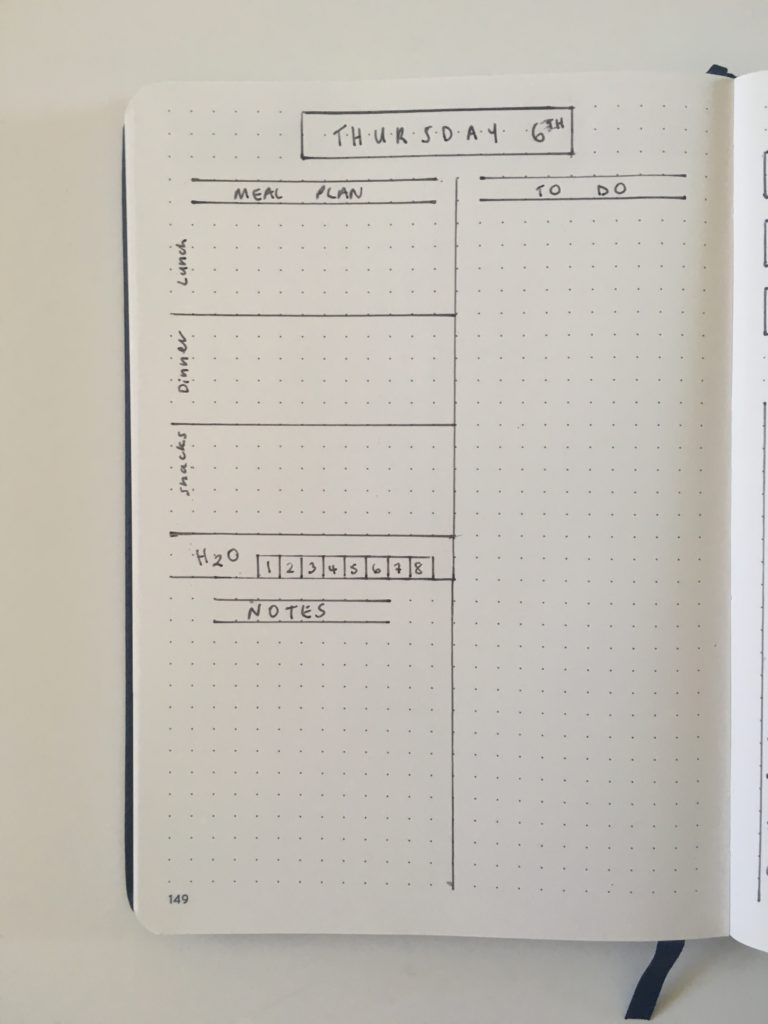 daily planning bullet journal layout day to a page meal planning h20 notes to do