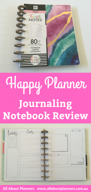 happy planner journaling notebook review pros and cons video flipthrough comparison with the mambi happy notes dot grid notebook bullet journal discbound