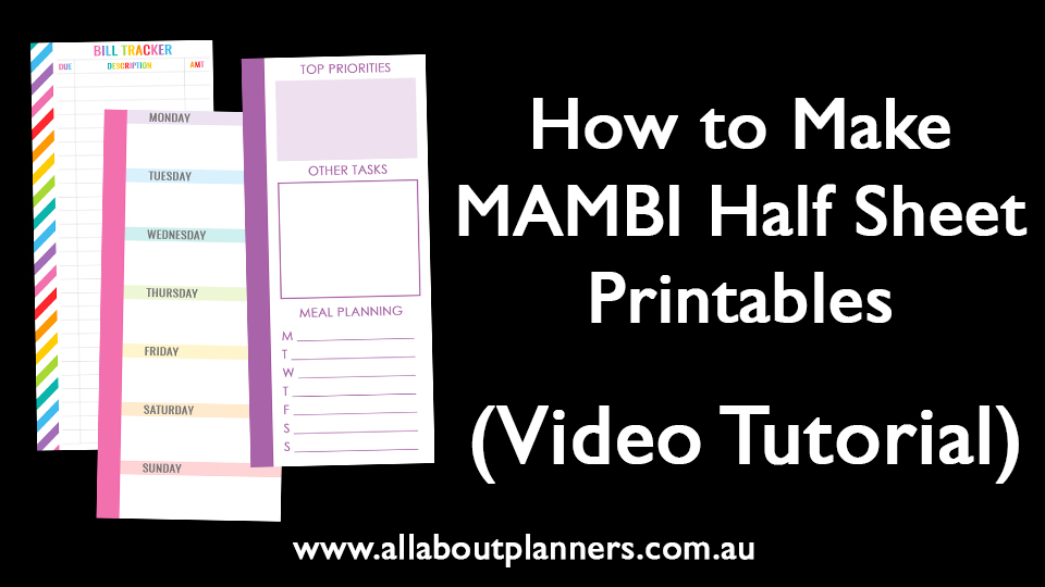 how to make MAMBI half sheet printables video tutorial step by step instructions classic size mini or big
