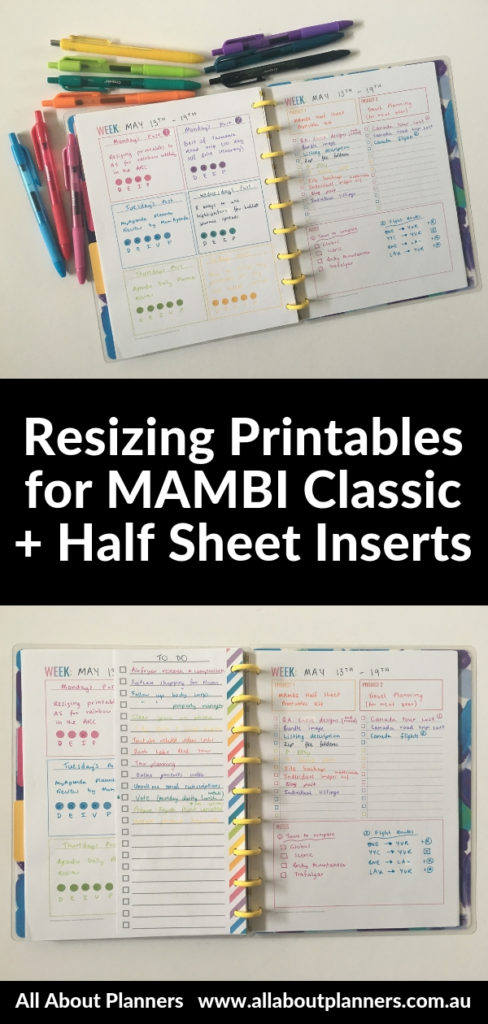 how to resize letter size printables for mambi classic happy planner video tutorial printing tips instructions medium page size
