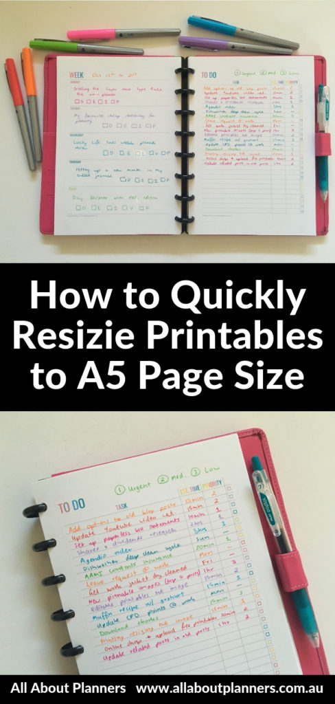 how to resize printables to a5 from letter size printing tips tutorial instructions arc discbound notebook inspiration ideas