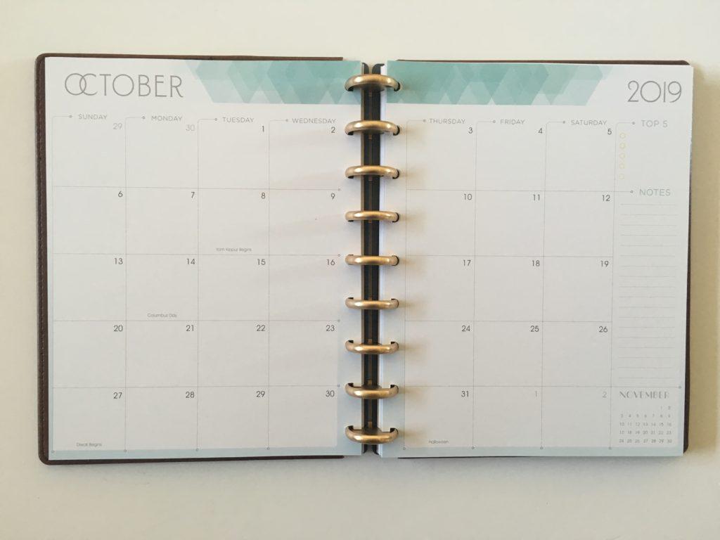 inkwell press 360 discbound monthly calendar sunday week start