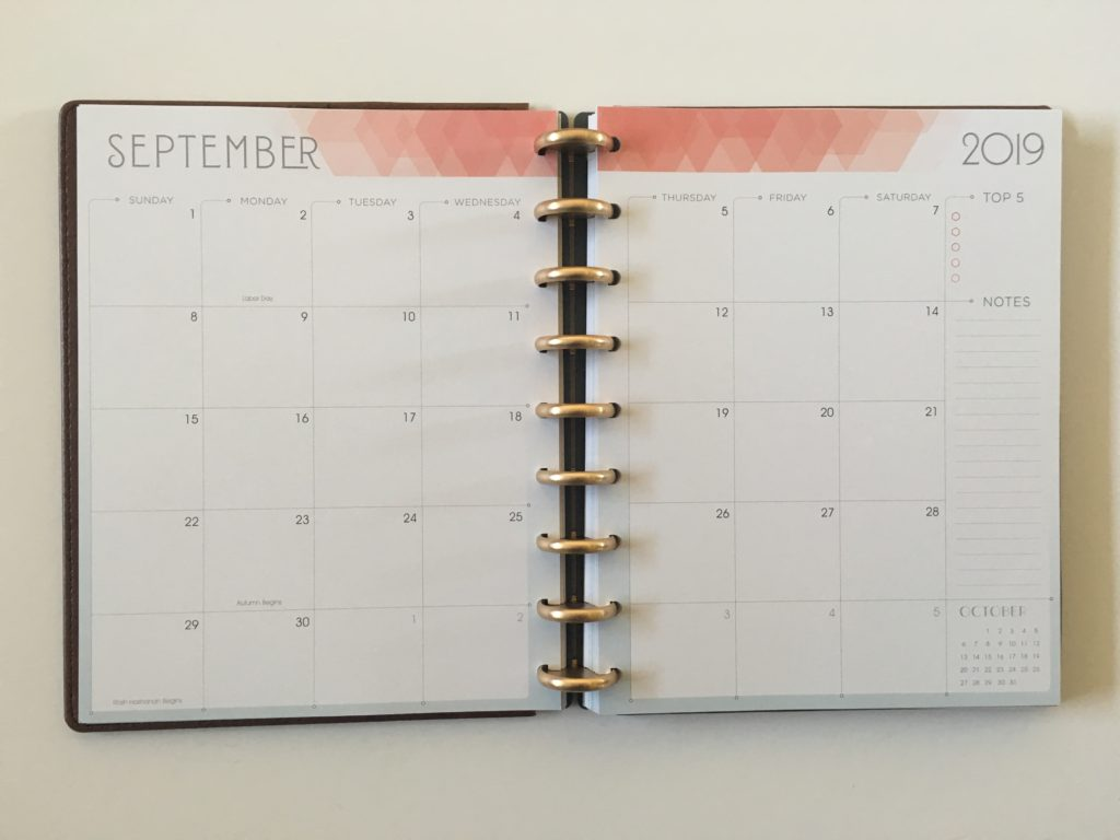 inkwell press 360 discbound monthly calendar sunday week start colors