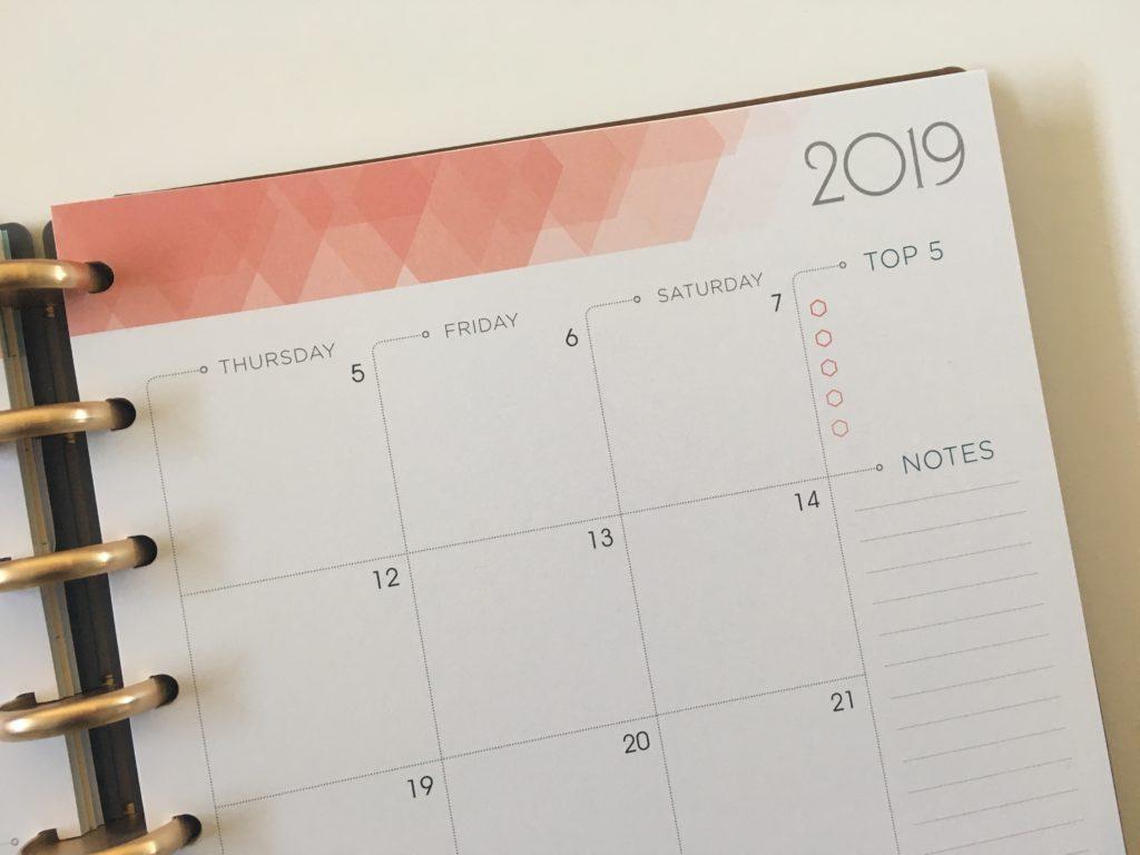 inkwell press 360 discbound monthly calendar top 5 goals sunday week start
