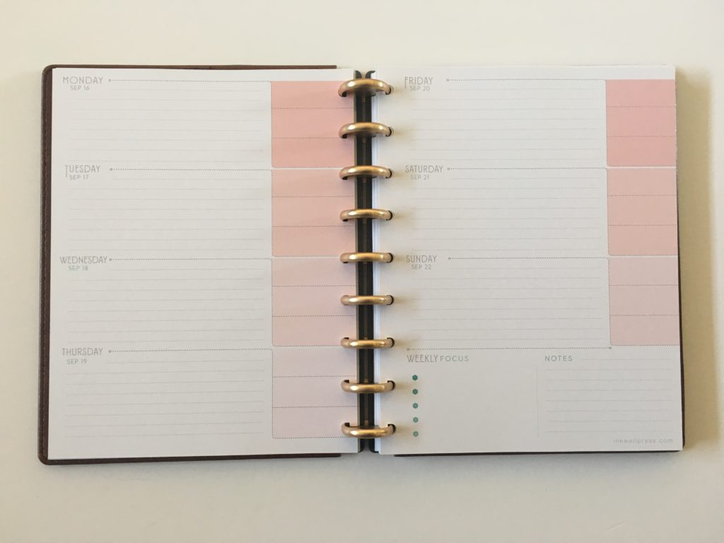 inkwell press flex horizontal layout pink top 3 for each day or meal planning monday week start 360 discbound
