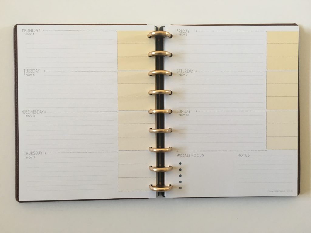 inkwell press flex horizontal weekly layout yellow monday week start 360 discbound
