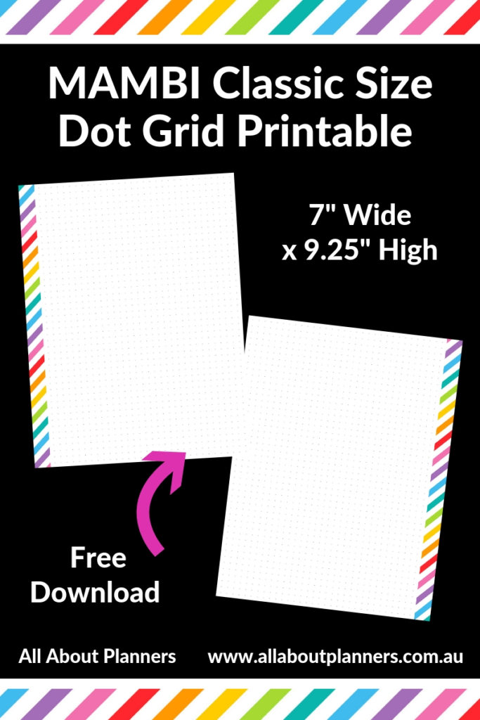 mambi dot grid refill paper template free download printable classic size 7 inch wide x 9.25 inch high happy planner bullet bujo