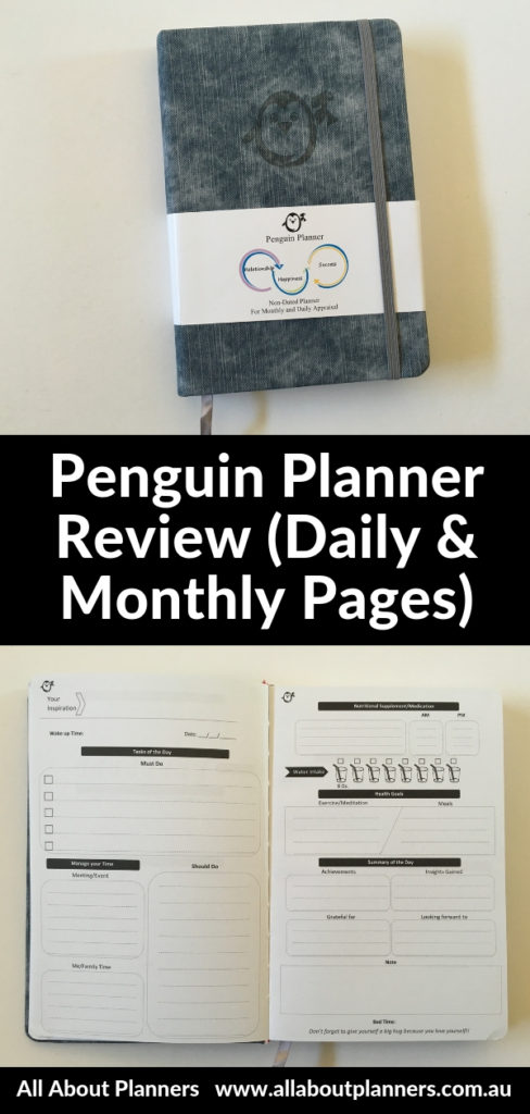 penguin planner review daily planner 2 pages per day monthly calendar undated 6 month duration gender neutral minimalist simple