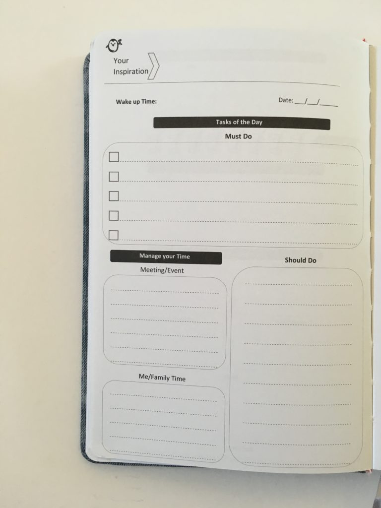 penguin planner daily planner 2 pages per day undated no schedule checklist water tracker health gratitude must do should do if family relationships