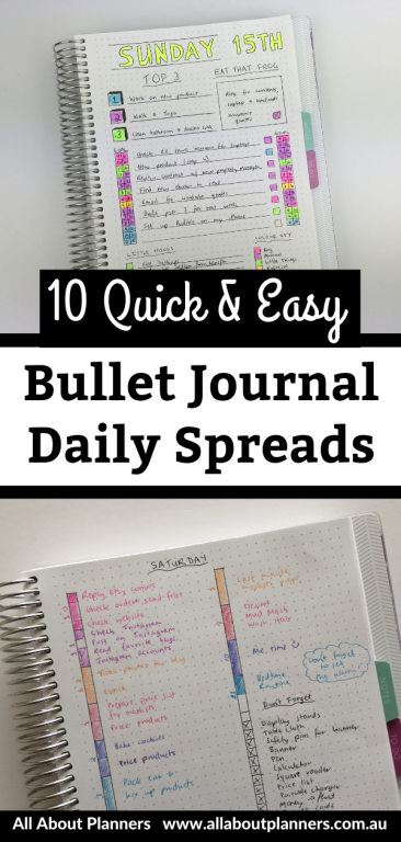 quick and easy bullet journal daily spreads inspiration ideas layouts 1 day per page highlighters minimalist color coded