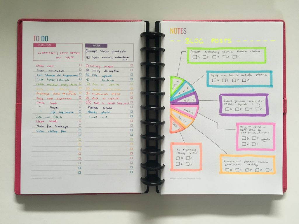 Keeping work and personal in the same planner plus pie chart blog planning