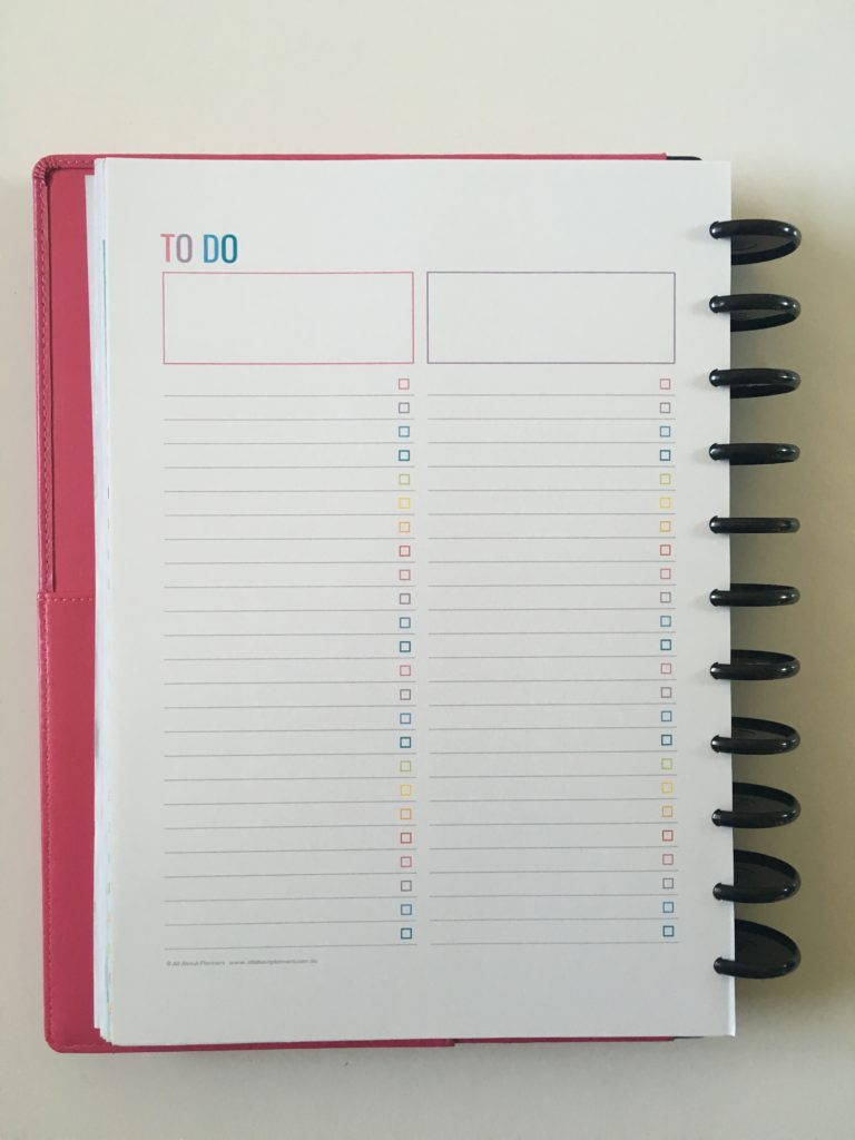 rainbow printable weekly planner spread arc discbound notebook inserts minimalist template diy project work personal checklist