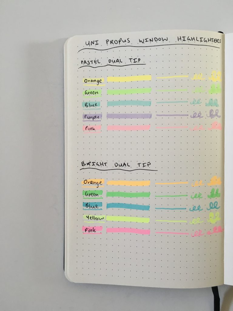 uni propus highlighter swatches ghosting bleed through bullet journal notebook paper test