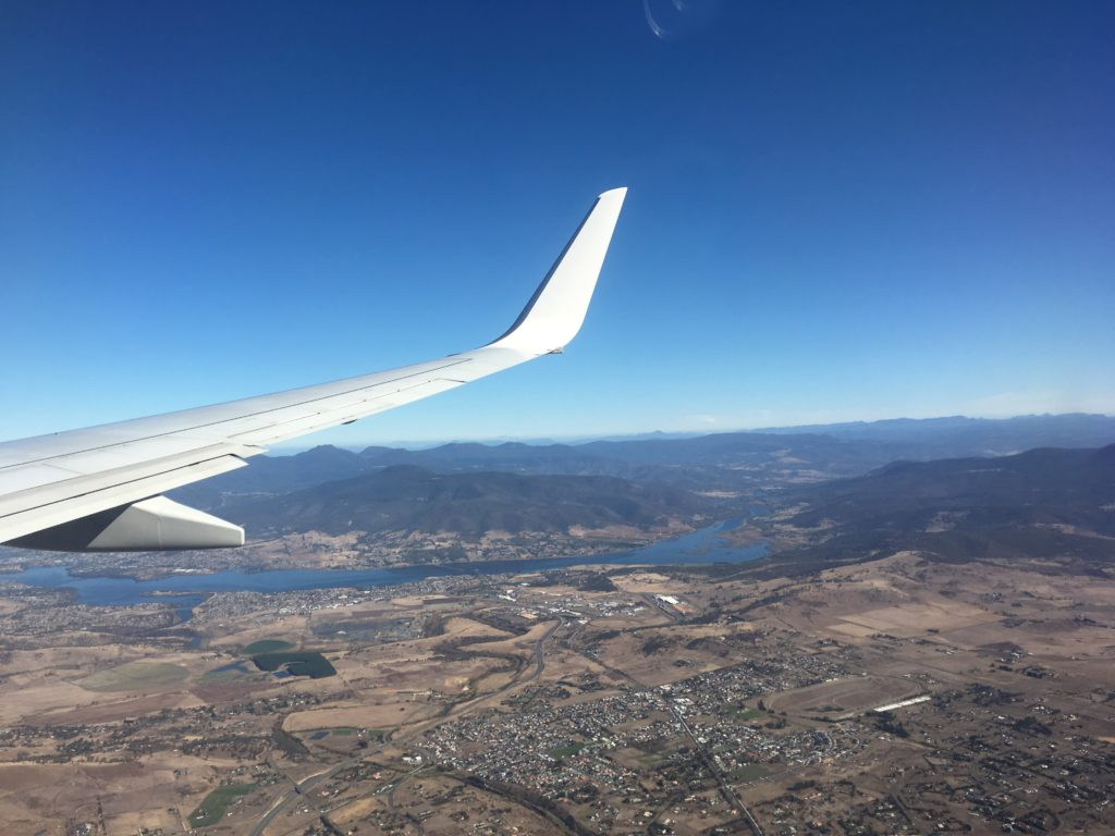 Hobart tasmania view from the plane sit on the right side for the best photo opportunities
